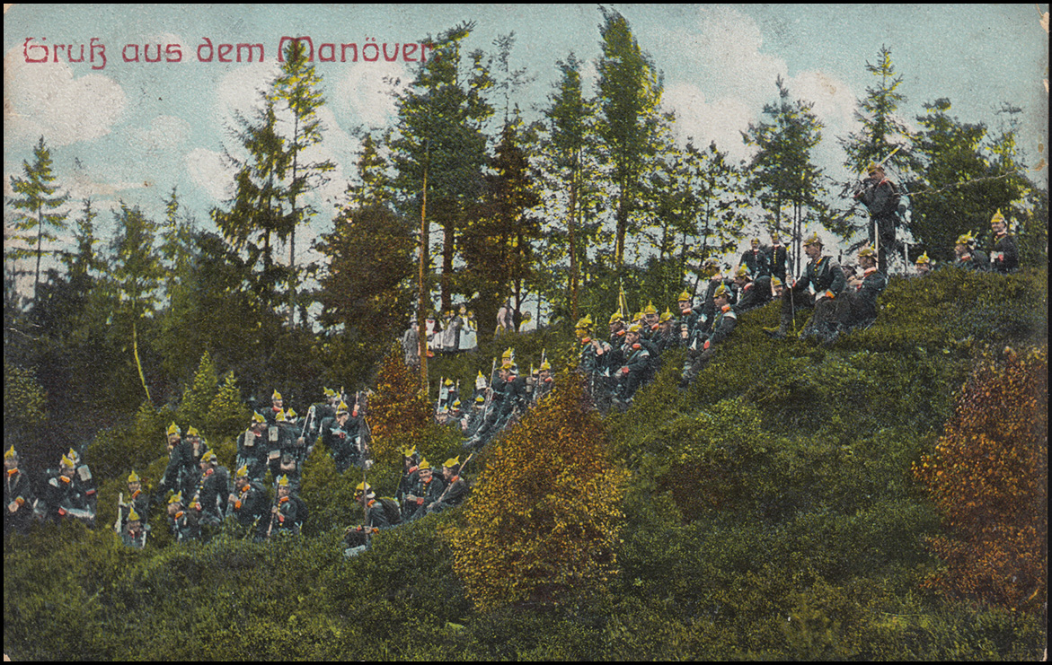 Ansichtskarte Gruss aus dem Manöver: Militäreinheit im Wald, EYTHRA 15.9.11
