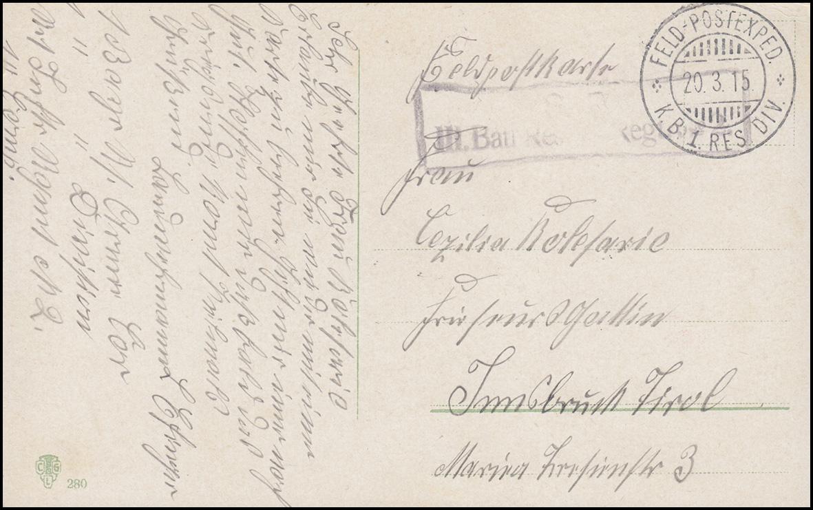 Feldpost III. Batt. Reserve-Regiment Nr. 2 - 20.3.15, Ansichtskarte Im Feldlager