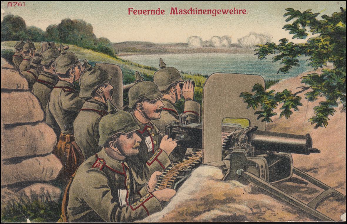 Ansichtskarte Feuernde Maschinengewehre als Feldpost, POTSDAM 23.9.16