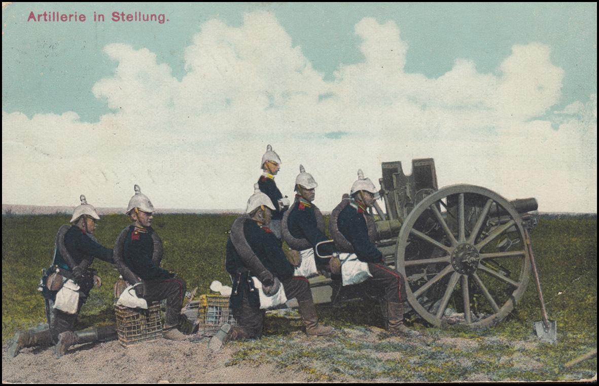 Ansichtskarte Artillerie in Stellung als Feldpost WITTENBERG / HALLE 9.7.15