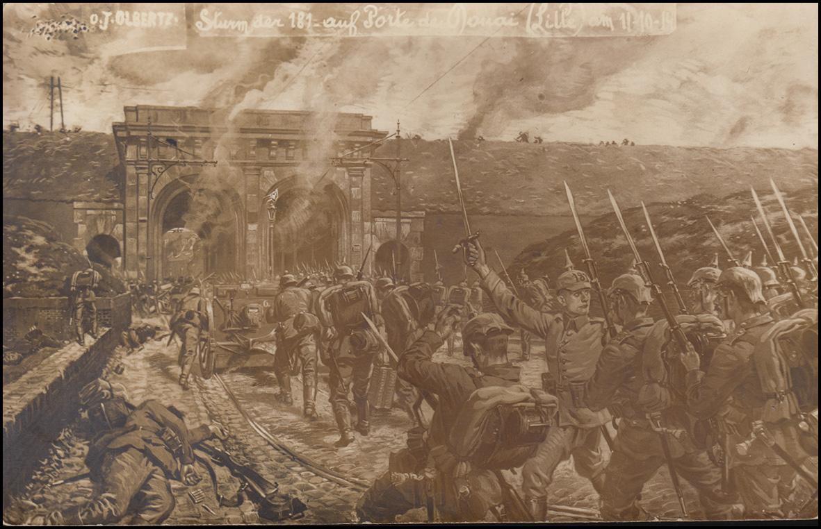 Ansichtskarte Sturm der 181.auf Porte du Dunai (Lille) am 11.10.14, beschriftet