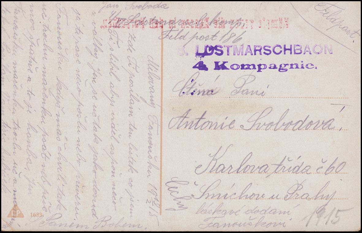 Feldpost 1915: BS LOSTMARSCHBAON 4. Kompanie auf AK Kämpfe gegen die Russen