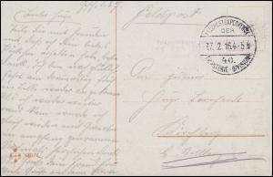 Feldpost BS Inf..-Rgt. 104, 27.2.1916 auf AK Schipper Wohlverdiente Mittagsruhe