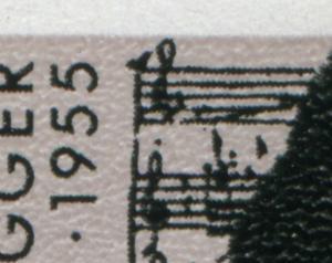 1596III+IV+V Honegger im Rand-6er-Block mit 3 MICHEL-PLF, ungefaltet, **