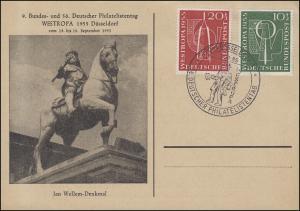 217-18 WESTROPA 1955 als Satz auf Blanko-Schmuck-Karte SSt Düsseldorf 18.9.1955