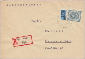 134 Posthorn 50 Pf mit Notopfer als EF auf Orts-R-Brief NEUSS 22.11.1952