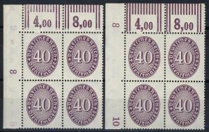 121XWOR Strohhut 40 Pf ER-Vbl. o.l. mit Nummer 8 oben bzw. Nummer 8 unten Set **