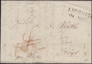 Preußen Vorphilatelie Faltbrief LIEGNITZ 21. NOV.  nach STEYR 24. NOV. 1839