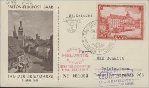 349 Tag der Briefmarke: Ballon-Flugpost Saar 9.5.54, FDC St. Ingbert