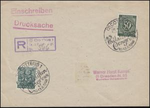932+949 MiF Drucksache-Einschreiben Not-R-Stempel SSt COTTBUS 11.4.48 n. Dresden