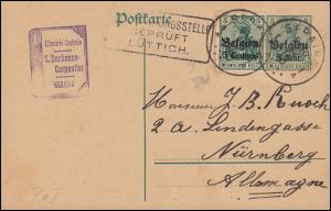 Zensur Belgien Postkarte P 9 + Zusatzfr. 2 Germania SERAING 9.10.16 BPP-geprüft