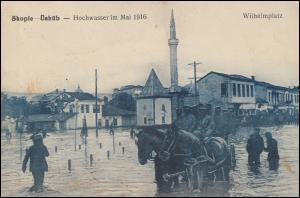 Feldpost K.D. Feldpoststation Nr. 22 - 27.8.16 auf AK Skopie Hochwasser Mai 1916