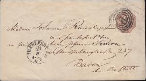 Thurn und Taxis Umschlag U 34 Nummer 220 FRANKFURT/MAIN 24.8.1866 mit Bahnpost