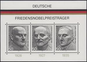 Block 11 Friedensnobelpreisträger 1975: links schmaler / rechts breiter Rand **