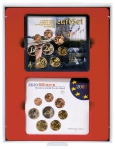 LINDNER d-Münzenbox Rauchglas für Euro-Kursmünzen-Sätze