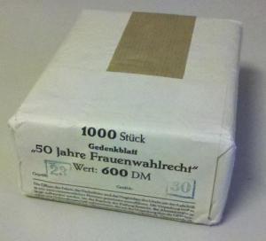 Block 5 Frauenwahlrecht, Orig.-Packung mit Banderole 1000 Blöcke postfrisch **