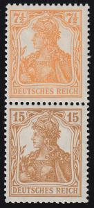 S 7aa Germania-Zusammendruck 7 1/2 Pf. und 15 Pf.,  * Falzrest obere Marke