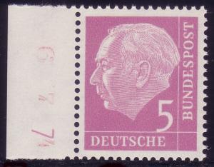179y Heuss 5 Pf. Randstück, ungefaltet, mit Druckerzeichen 7, postfrisch **