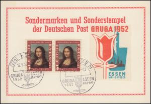 Sonderkarte zur Gruga Essen 1952 mit 148 als Paar SSt ESSEN GRUGA Blume 12.5.52