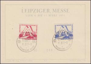 282-283 Leipziger Messe 1951 Messekarte mit SSt LEIPZIG Technische Messe 11.3.51