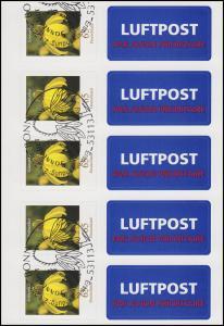 FB 2 Sonnenhut 2009, Folienblatt 5x2715, mit Luftpost-Aufkleber, EV-O Bonn