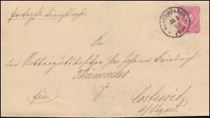 41 Ziffer 10 Pfennig EF auf Brief HOHENMÖLSEN 21.1.1883 nach Costewitz/Pegau