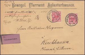 47 Reichsadler 10 Pf MeF NN-Brief Evangel. Pfarramt AGLASTERHAUSEN 13.11.1894