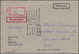 Postsache Deutsche Post ZPF Brief als Einschreiben 1085 BERLIN ZPF 26.4.1988