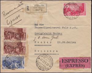 Italien 728-730 Repblikanische Geschichte 10+15+20 L Eil-R-Brief BERGAMO 17.3.47