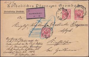 47 Reichsadler 10 Pf MeF auf NN-Brief Katholisches Pfarramt GROMBACH 5.11.1894