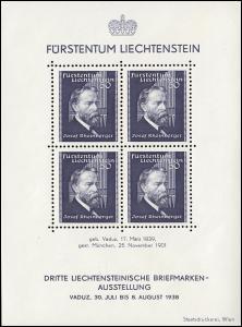 Liechtenstein Block 3 Briefmarkenaustellung in Vaduz 1938, postfrisch **
