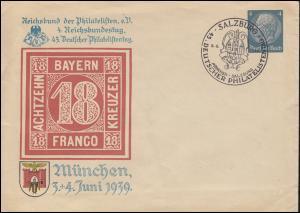 Privatumschlag PU 128 Deutscher Philatelistentag passender SSt SALZBURG 5.6.1939