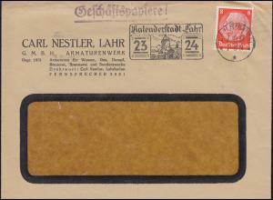 Hindenburg 8 Pf. als EF auf Brief Geschäftspapiere LAHR Kalenderstadt 7.10.1937