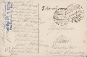 Feldpost Infanterie-Regiment 121. 9 Komp. 2.5.16, AK nach UNTERTÜRKHEIM 3.5.16