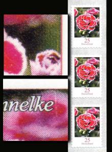 2699 Blumen 0,25 sk 6er-Streifen mit 2 Nummern und 2 Markendruckfehlern, **