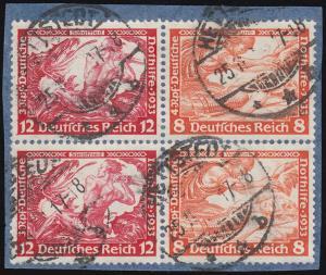 W55 Nothilfe/Wagner-ZD 12/8 Pf zweimal im Vbl. auf Briefstück HETTSTEDT 25.11.33