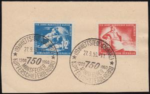 273-274 Kupferschiefer 1950 als Satz auf Briefstück mit SSt HETTSTEDT 27.9.50