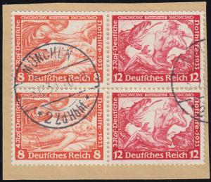 W57 Nothilfe/Wagner-ZD 8/12 Pf. zweimal im Vbl. auf Briefstück MÜNCHEN 5.12.33