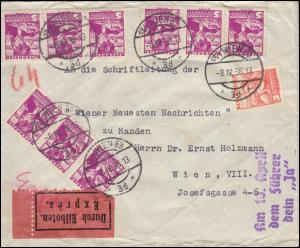 568+570 Volkstrachten auf Express-Orts-Brief WIEN 8.4.38 mit Propaganda-Stempel