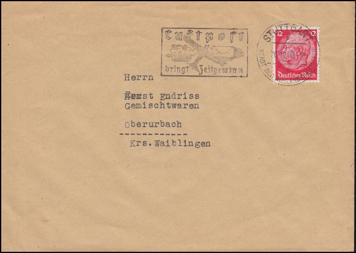 Hindenburg 12 Pf. als EF auf Fern-Brief STUTTGART 26.11.40 mit Luftpost-Werbung 0