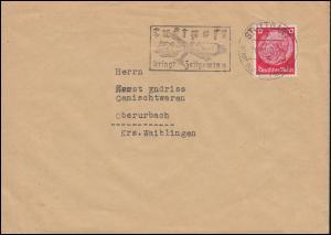 Hindenburg 12 Pf. als EF auf Fern-Brief STUTTGART 26.11.40 mit Luftpost-Werbung