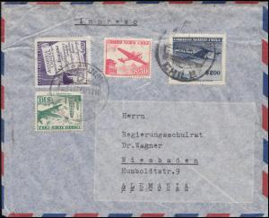 Chile Auslandsbrief CONCEPTION 1950 Flugpostmarken / Flugzeuge nach Wiesbaden