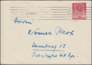 71 ERP als EF auf Brief BERLIN-CHARLOTTENBURG 27.12.50 nach Hamburg