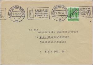4 Schwarzaufdruck 10 Pf. als EF auf Orts-Brief BERLIN-CHARLOTTENBURG 17.7.52