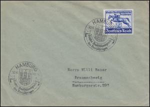 746 Das Blaue Band 1940 auf Brief SSt Hamburg 28.6.40 nach Braunschweig