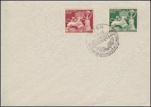 816-817 Goldschmiedekunst Satz auf Blanko-Brief SSt WIEN Jugendverband 14.9.42