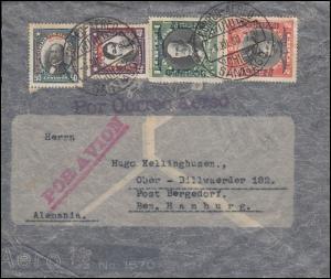 Chile Brief SANTIAGO 4.7.30 mit Flugpost-Aufdruckmarken nach Hamburg