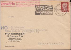 252 Pieck Ef Bf. Propaganda- und Werbe-O Jugend für den Frieden DRESDEN 22.7.51