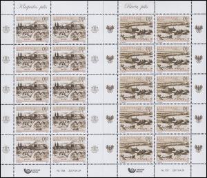 2017 Litauen 1250-1251 Burgen und Schlösser, Kleinbogen-Satz ** postfrisch