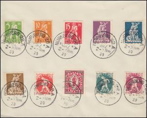 178-187 Abschiedsserie 5 Pf. bis 1 M auf Blanko-Umschlag NÜRNBERG 28.3.20